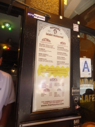Sad attempt to get a picture of the menu. Here is the link to their menu: http://mamouns.com/menu-2. So annoying that they do not have prices. I hate when establishments do not put the prices online.