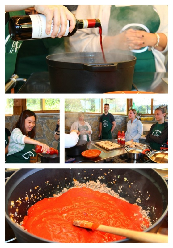Collage Making the meat sauce